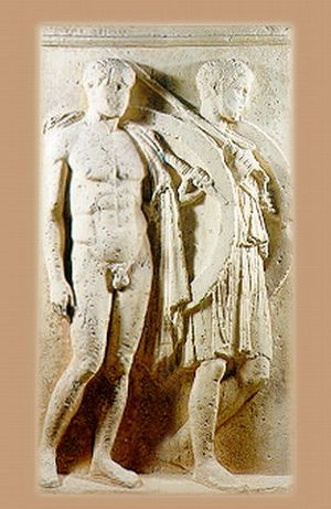 Grave stele of the hoplite Pancharos from the battle of Chaironeia
